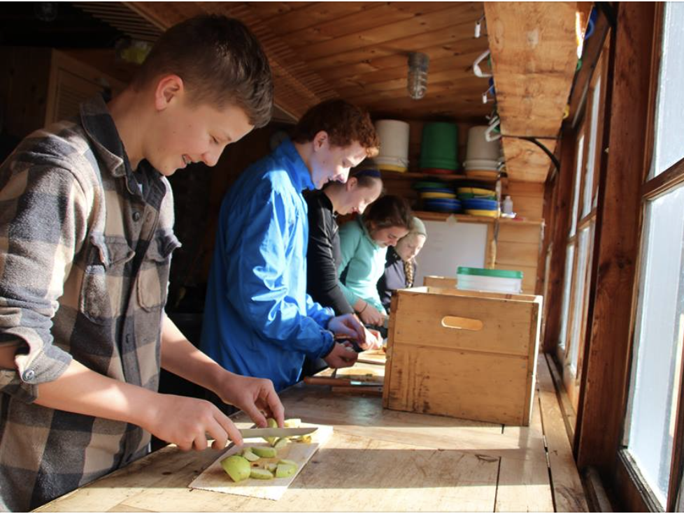Students cutting fruit.